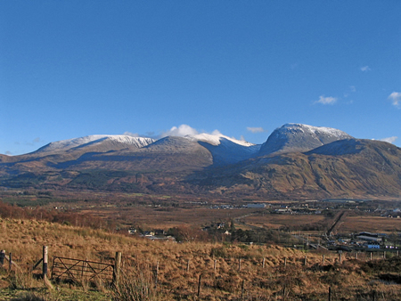 Ben Nevis and Aonach Mor from hill above house,  Fort William Scotland