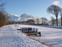 Ben Nevis and the Caledonian Canal in winter