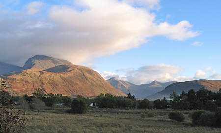 Sun setting over Ben Nevis  and Fort William